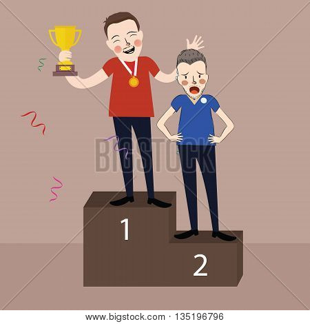 winner get trophy first and second place stage podium vector