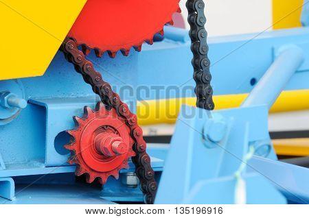 Colour machine part technology background close up selective focus