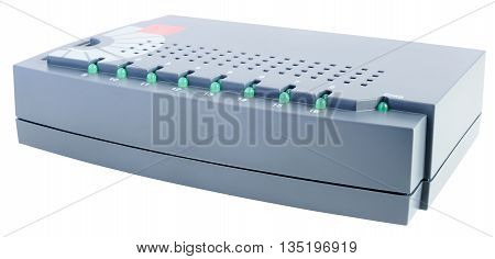 Network switch isometric view isolated on the white background