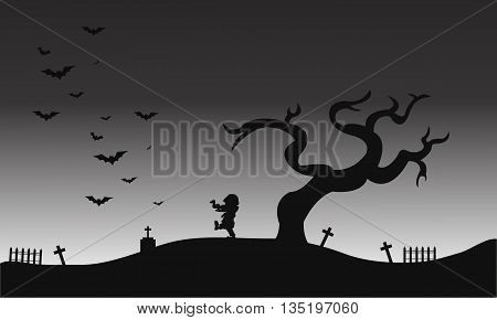 Zombie and bat halloween scenery silhouette illustration