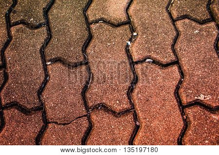 Brick footpath walkway close-up for background or pattern