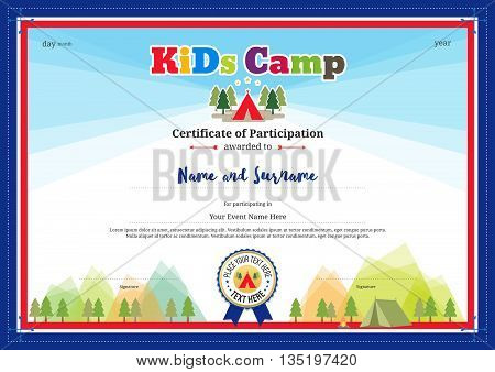 Colorful and modern certificate of participation for kids activities or kids camp with camping background