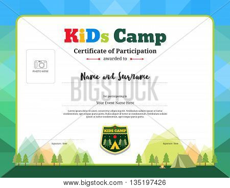Colorful and modern certificate of participation for kids activities or kids camp with camping background and photo space