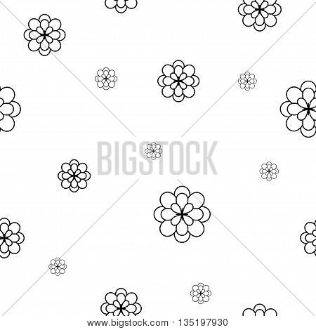 Flower chaotic seamless pattern. Fashion graphic background design. Modern stylish abstract texture. Monochrome template for prints textiles wrapping wallpaper etc Stock VECTOR illustration