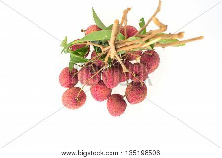 Top view bunch of litchi isolated on white background.