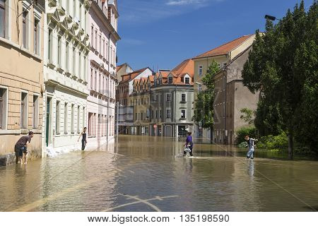 MEISSEN, GERMANY - JUNE 5, 2013: Flooding in Meissen.