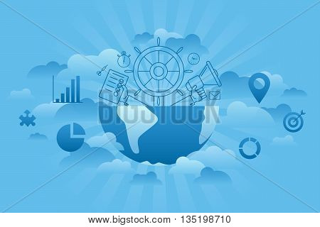 Blue sky and cloud thin line flat management concept. Global business vector illustration. Loudspeaker in hand, globe and the wheel.