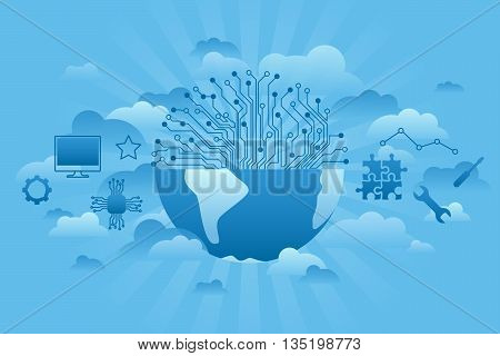 global technologies concept of thin line illustration. Blue sky and clouds around globe. Global business concept. Vector Globe and technologies icons