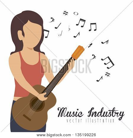 woman playing guitar isolated icon design, vector illustration  graphic