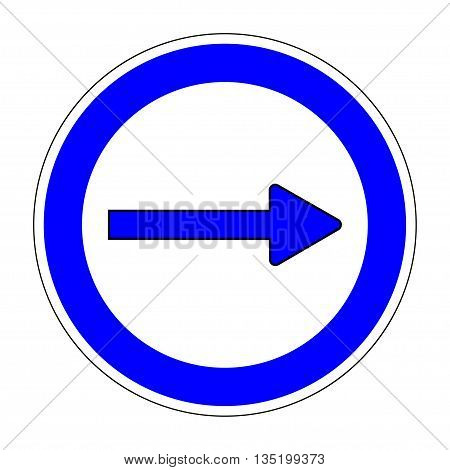 Traffic Sign Keep Right sign on white background Arrow icon Right arrow circular icon on white background Turn right traffic sign Arrow indicates the direction on right Stock Vector illustration