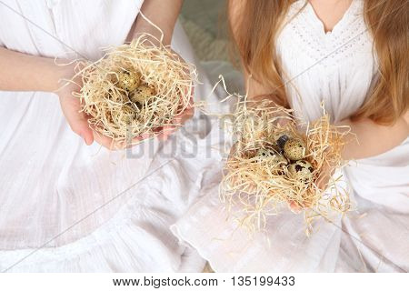 nest with quail eggs in the hands of a child quail eggs in imitation nests