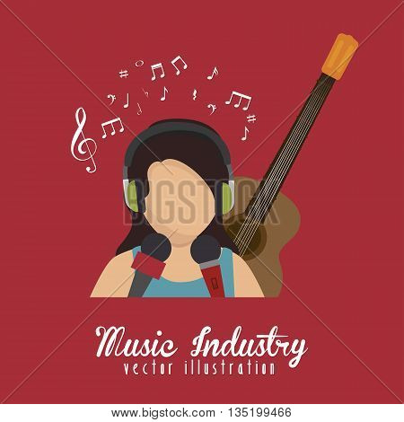 singer with microphone and guitar isolated icon design, vector illustration  graphic