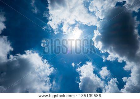 Nice Blue Sky With Sun Beam With Cloudy,hope Ray.