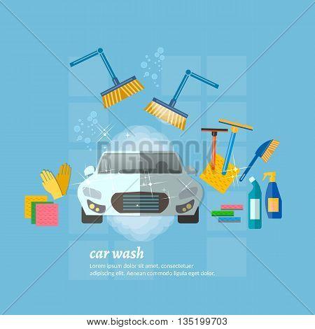 Car wash automatic car washing machine vector illustration