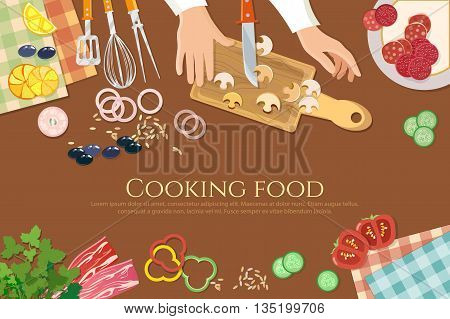 Chef cooks preparing food cook hands on the kitchen table top view vector illustration