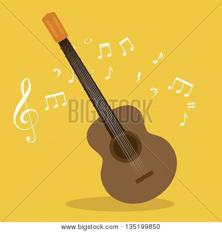 acoustic guitar isolated icon design, vector illustration  graphic