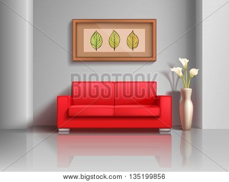 Realistic red sofa and flowerpot in living room interior. Modern realistic interior apartment with furniture comfortable sofa. Vector illustration
