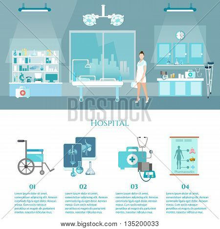 Hospital interiors medicine infographics elements doctor and patient surgery operation room health service vector illustration