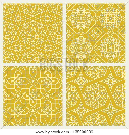 Seamless mosaic yellow patterns in oriental style vector set