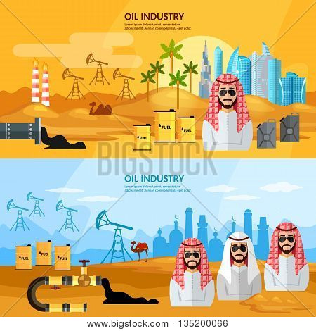 Oil industry in the Arab countries banner sheiks in desert arab men eextraction and processing of oil vector illustration