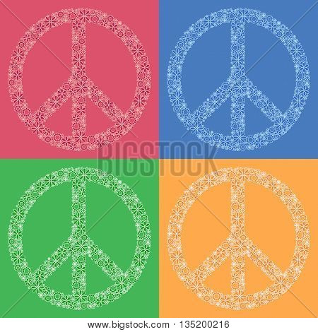symbol of peace Pacific made up of flowers. Logo. Vector image. Hippie style.