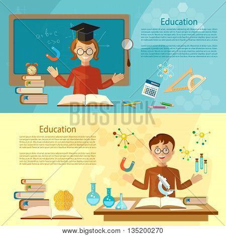 Education banners student at the school board back to school education background vector illustration