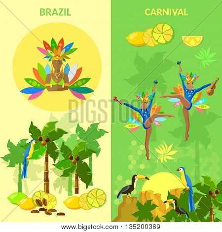 Brazil banners brazilian woman carnival beautiful brazilian dancers dancing jungle Brazil vector illustration