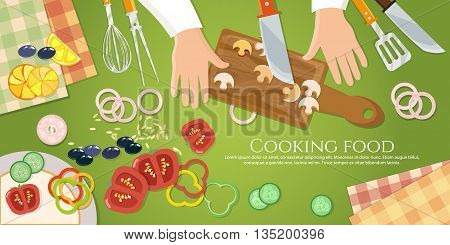 Chef cooks preparing food top view cook handsclea on the kitchen table vector illustration