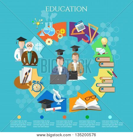 Education infographic open book of knowledge elements of infographics education exams professor and student learning vector illustration