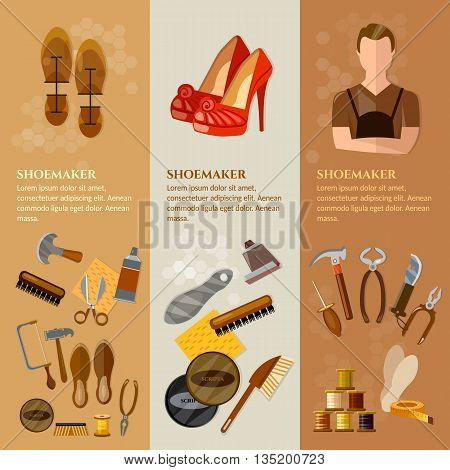 Shoemaker banners shoemaker in the workplace professional equipment cobbler shoe repair shoe care vector illustration