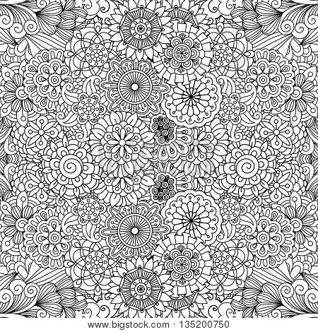 Various floral pinwheel shapes as seamless background pattern with subtle heart and radiating wavy objects