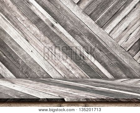 Empty Diagonal Wooden Table Top At Diagonal Wooden Wall,template Mock Up For Display Of Your Product