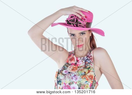 cute young girl expressive with pink hat