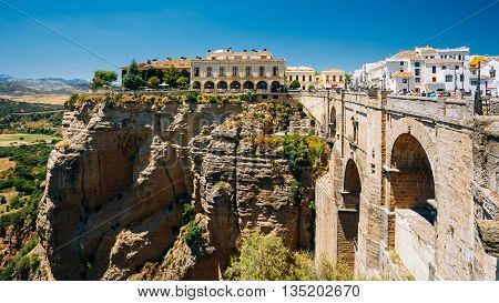 Panorama Of The Tajo De Ronda Is A Gorge Carved By The Guadalevin River, On Which The Town Of Ronda, Spain.