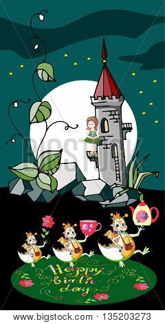 Cute Happy Birthday greeting card. Little princess in night fairy tower and dragons with gifts. Vector illustration.
