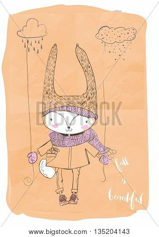 cute little doodle hare in warm clothes