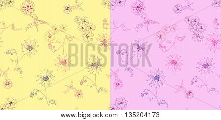 Seamless floral patterns. Elegant tender background with colorful linear flowers. Vector illustration.