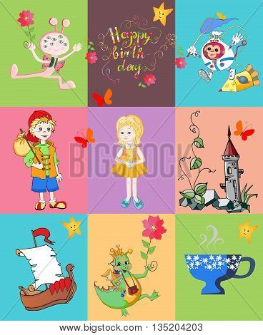 Childish seamless patchwork pattern. Cute vector illustration of quilt.