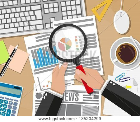 Cartoon businessman hands with magnifier analysis paper sheet, calculator, pen, computer keyboard and mouse, coffee cup, newspaper. auditing tax, financial market analysis, seo, financial report. vector illustration in flat design on brown background