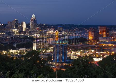 Cincinnati, Ohio & Covington Kentucky along the Ohio River
