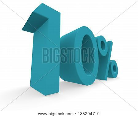 Ten percent in turquoise on a white background 3d rendering