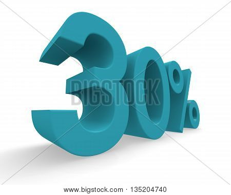 Thirty percent in turquoise on a white background 3d rendering