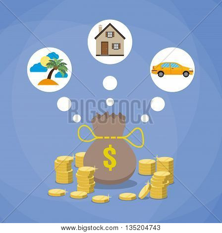 holidays, car and house. money bag and stacks of gold coins, investment, savings future planing concept. flat design. vecor illustration on blue background