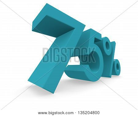 75 percent in turquoise on a white background 3d rendering