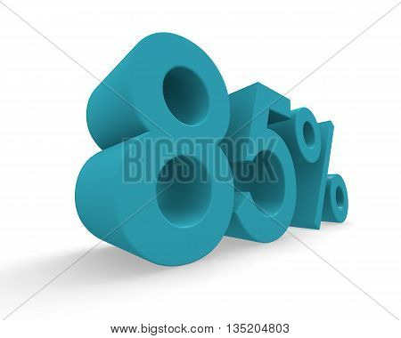 85 percent in turquoise on a white background 3d rendering