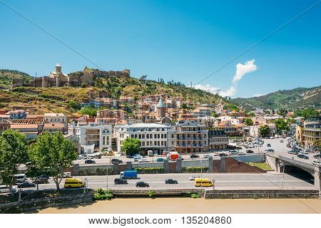 Scenic View Of Tbilisi Old Town, Georgia. Historic District. In Background Is Visible Narikala Fortress, Old Historic District Of Kala