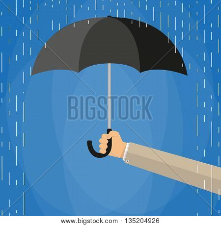 Hand of man holding an umbrella under rain. Vector illustration in flat style on blue background