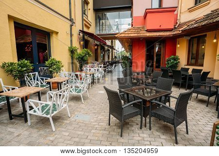 Cozy Outdoor Cafes In The Narrow Streets Of Old Town Tbilisi, Georgia.