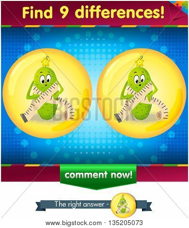 Visual Game for children. Find 9 differences the funny cucumber