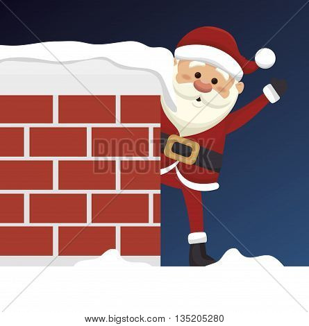 santa claus in chimney  isolated icon design, vector illustration  graphic